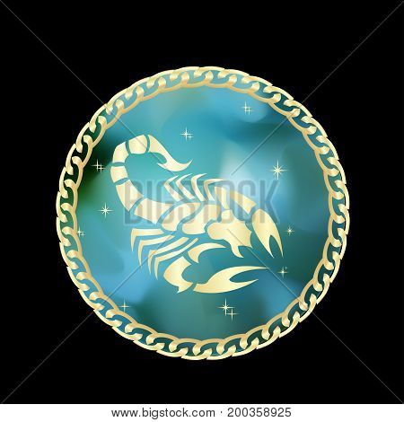 Scorpio zodiac sign in circle frame vector Illustration. Contour icon.