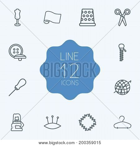 Collection Of Dummy, Fabric, Scissors And Other Elements.  Set Of 12 Tailor Outline Icons Set.