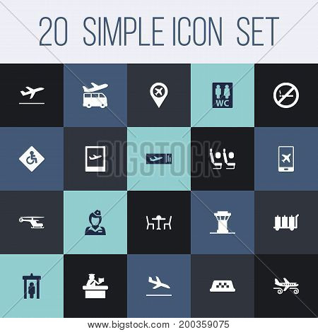 Collection Of Letdown, Hostess, Carriage And Other Elements.  Set Of 20 Airplane Icons Set.