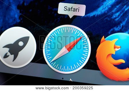 New york, USA - August 18, 2017: Safari browser icon on laptop screen close-up. Starting web browser safari