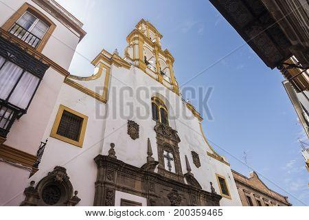 SEVILLA,SPAIN-AUGUST 7,2017:facade of the Parish of Santa Cruz in Sevilla during a summer day.