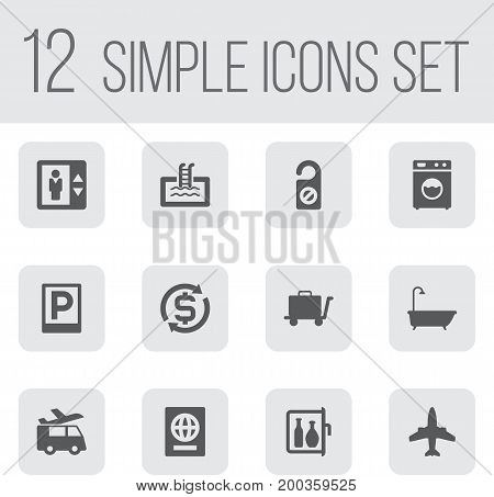 Collection Of Lift, Citizenship, Carriage And Other Elements.  Set Of 12 Travel Icons Set.