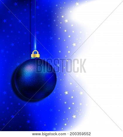Blue Christmas toys for the New Year, vector art illustration.