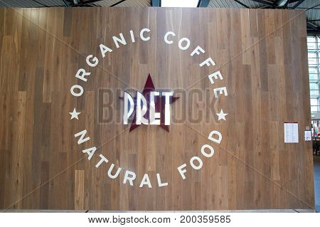 PARIS FRANCE - MAY 14 2017 : Pret a Manger shop. Pret a Manger is an international sandwich shop chain based in the United Kingdom