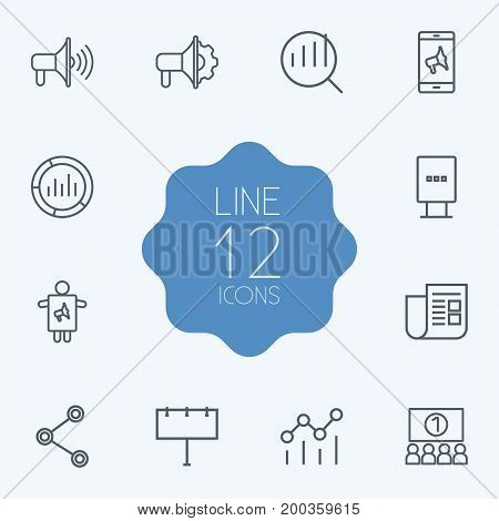 Collection Of Advertising Agency, Worker, Mobile Marketing And Other Elements.  Set Of 12 Trade Outline Icons Set.