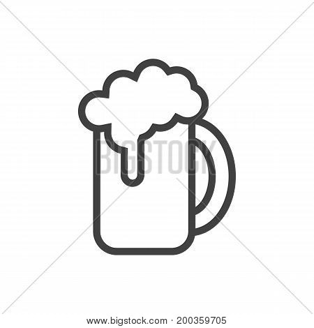 Vector Beer Element In Trendy Style.  Isolated Ale Outline Symbol On Clean Background.