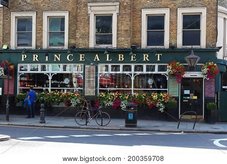 LONDON, UK - August 11, 2017: A view of the facade of the traditional English pub Prince Albert in Notting Hill, London, United Kingdom.