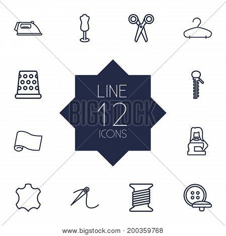 Collection Of Bobbin, Tremble, Tailor And Other Elements.  Set Of 12 Stitch Outline Icons Set.