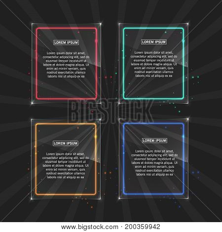 Neon frames with different color. Light effect, on transparent background Vector illustration