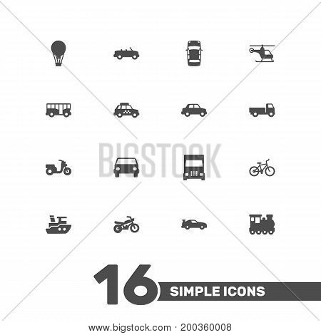 Collection Of Taxicab, Side View, Bicycle And Other Elements.  Set Of 16 Shipping Icons Set.