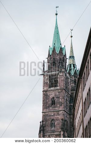 Fragment of the exterior of the church of St. Sebald in Nuremberg. One of the sights of the city.