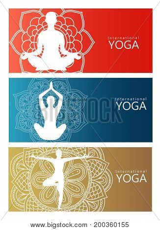 yoga. lotus position silhouette. on vector shape