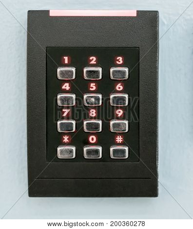 A Numeric Keypad, Numpad, With Red Led Lights For Staff Get-in