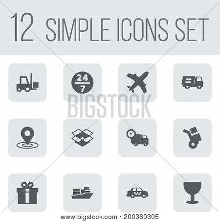 Collection Of Transportation, Lorry, Service And Other Elements.  Set Of 12 Delivery Icons Set.