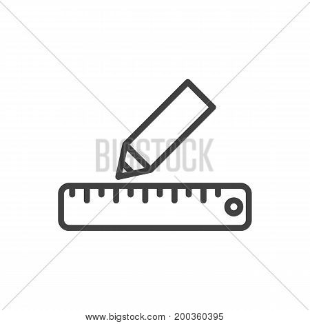 Vector Pencil Element In Trendy Style.  Isolated Ruler Outline Symbol On Clean Background.