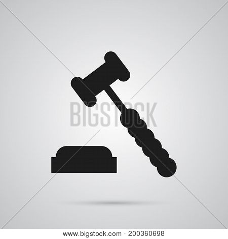 Vector Judge Gavel Element In Trendy Style.  Isolated Hammer Icon Symbol On Clean Background.