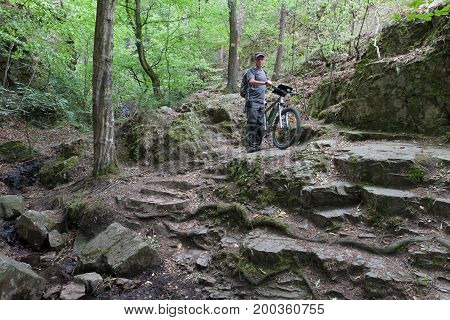 Man with mountain bike on stone path in the woods.