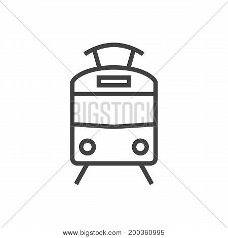 Vector Tram Element In Trendy Style.  Isolated Streetcar Outline Symbol On Clean Background.