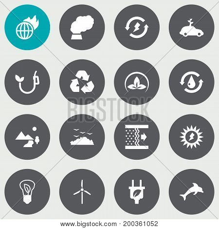 Collection Of Contamination, Renewable, Nature And Other Elements.  Set Of 16 Atmosphere Icons Set.