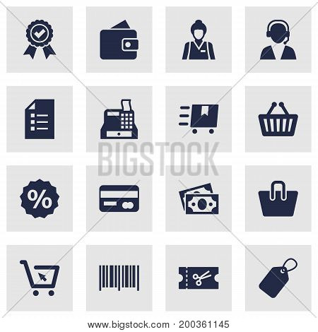 Collection Of Payment, Guarantee, Online Support And Other Elements.  Set Of 16 Store Icons Set.