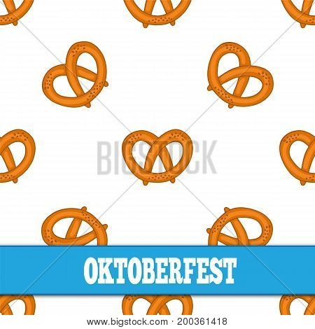 Seamless pattern with pretzels for Oktoberfest on white background. Vector illustration