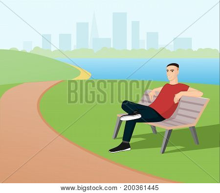 Man relaxing in the park on a bench