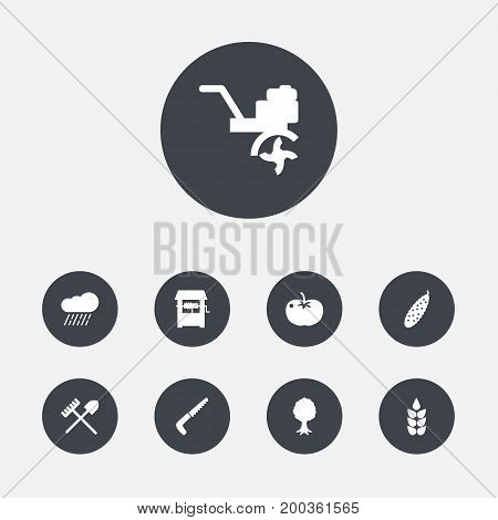 Collection Of Cloud, Hacksaw, Combine-Harvester And Other Elements.  Set Of 9 Harvest Icons Set.