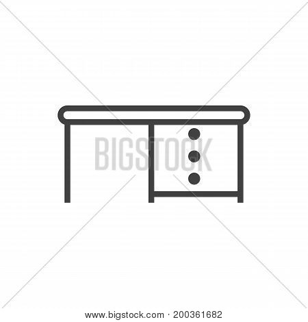 Vector Desk Element In Trendy Style.  Isolated Desktop Outline Symbol On Clean Background.