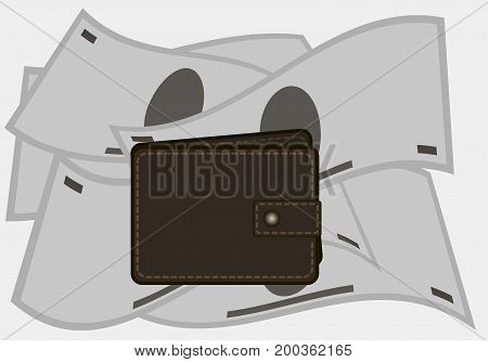 The wallet on a background of money . Purse . Vector illustration