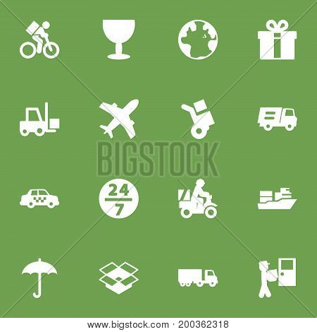 Collection Of Courier, Scooter, Delivery And Other Elements.  Set Of 16 Cargo Icons Set.
