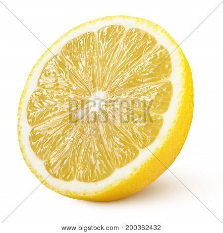 Half Of Yellow Lemon Citrus Fruit Isolated On White