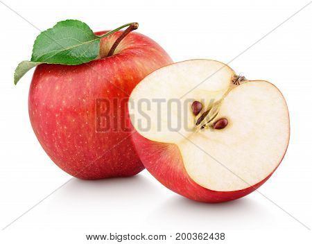 Red Apple Fruit With Half And Green Leaf Isolated On White