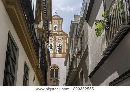 SEVILLA,SPAIN-AUGUST 7,2017:acade of the Parish of Santa Cruz in Sevilla during a summer day.