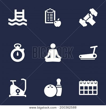 Collection Of Kegling, Meditate, Basin And Other Elements.  Set Of 9 Training Icons Set.