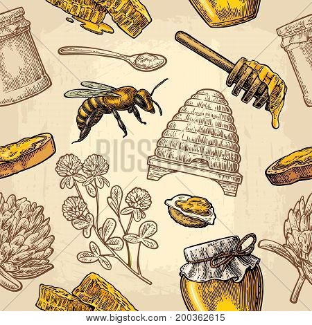 Seamless Pattern with honey bee hive clover spoon cracker bread and honeycomb. Vector vintage color engraving illustration on beige background