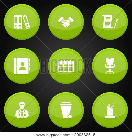 Collection Of Trash Can, Handshake, Contract Elements.  Set Of 9 Cabinet Icons Set.
