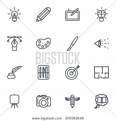 Collection Of Idea, Target, Paintbrush And Other Elements.  Set Of 16 Creative Outline Icons Set.