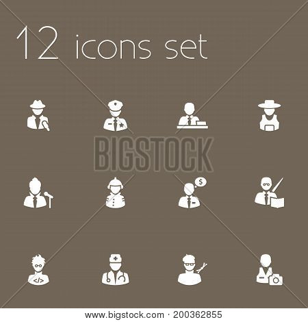 Collection Of Artist, Manager, Rancher And Other Elements.  Set Of 12 Professions Icons Set.