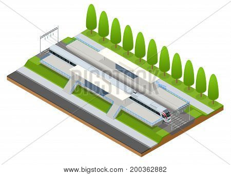 Vector isometric infographic element Railway Station Building Terminal. City Train. Building Facade Train Station public train station building with passenger trains, platform, related infrastructure.