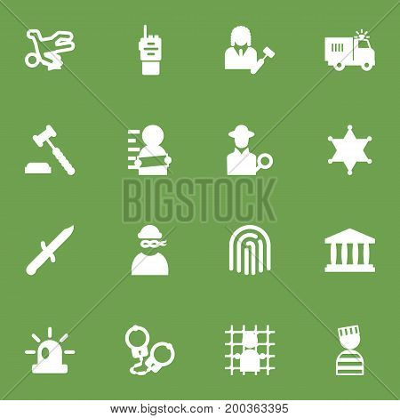 Collection Of Thief, Signal, Officer Emblem And Other Elements.  Set Of 16 Crime Icons Set.
