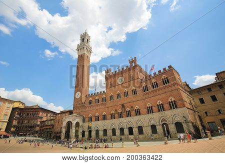 Mangia Tower In Siena, Tuscany, Italy