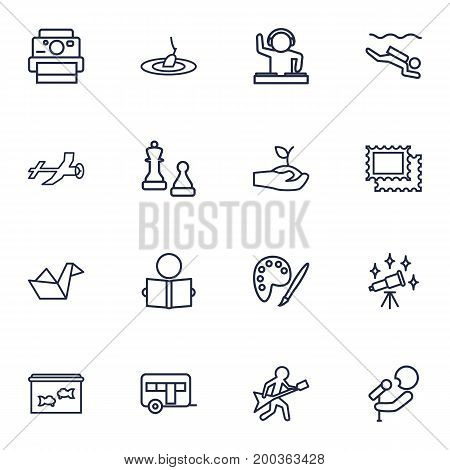 Collection Of Camping, Aeromodeling, Musician And Other Elements.  Set Of 16 Lifestyle Outline Icons Set.