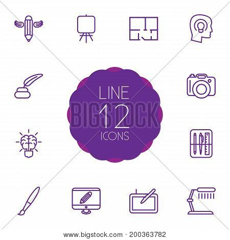 Collection Of Paintbrush, Writing, Table Lamp And Other Elements.  Set Of 12 Creative Outline Icons Set.