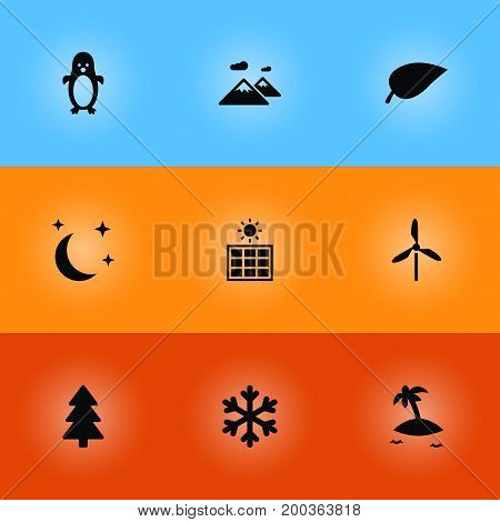 Collection Of Winter Snow, Polar Bird, Wind Energy And Other Elements.  Set Of 9 Nature Icons Set.