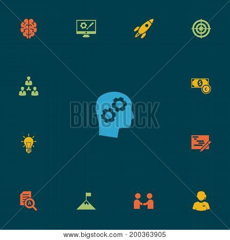Collection Of Call Center, Rocket, Document Checking And Other Elements.  Set Of 13 Strategy Icons Set.