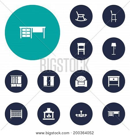 Collection Of Cot, Sofa, Illuminator And Other Elements.  Set Of 12 Set Icons Set.