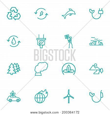 Collection Of Dolphin, Garbage, Plug And Other Elements.  Set Of 16 Ecology Outline Icons Set.