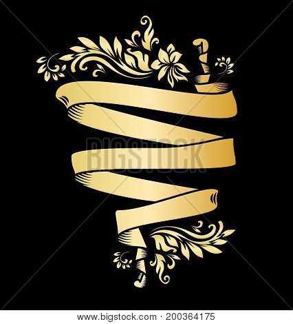 Golden page decoration element. Gold ribbon with acanthus. Royal or premium ribbon design for casino, wine wrapping, elegant emblem, engraving, greetings, anniversary.