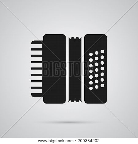 Vector Harmonica Element In Trendy Style.  Isolated Accordion Icon Symbol On Clean Background.