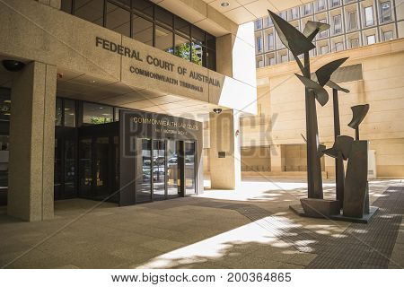 WESTERN AUSTRALIA, PERTH - NOVEMBER 2016: Entrance to Federal Court of Australia Commonwealth Tribunals